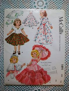 "McCALL Original Vintage 50s Pattern #1891 Mary Hoyer 14""  Doll Clothes"
