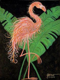 Flamingo art deco  Painting  - Flamingo art deco  Fine Art Print