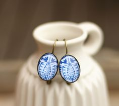 Boucles d'oreilles folk bleues : Boucles d'oreille par callenana