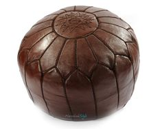 Moroccan Pouf, Chocolate Brown Leather Pouf, Ottoman Foot Stool Pouffe  Home Decor-furniture  seating