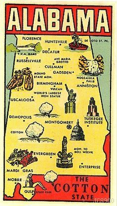 """""""This rare water decal of ALABAMA was produced in the 1950's by the GOLDFARB NOVELTY CO.... The tiny graphics on this well-detailed map of THE COTTON STATE are so cleverly drawn, they really bring this water decal to life! There are even tiny skeletons in the Mound State Monument!"""""""