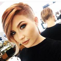 50 Trendy Pixie Cut with Long Bangs Ideas - Hairstyle Modern Short Hairstyles, Short Hairstyles For Thick Hair, Short Hair Cuts For Women, Curly Hair Styles, Short Haircuts, Beautiful Hairstyles, Short Asymmetrical Hairstyles, Shaved Side Hairstyles, Androgynous Haircut