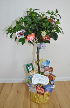 Gift card tree for teacher appreciation! I like how they tucked gift cards into the planter as well. Gift Card Tree, Gift Card Basket, Gift Card Bouquet, Gift Cards, Gift Baskets, Diy Holiday Gifts, Teacher Christmas Gifts, Diy Crafts For Gifts, Homemade Christmas Gifts