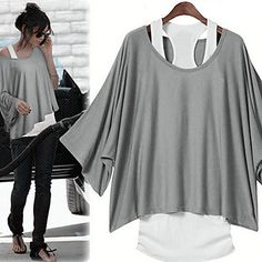 [NewYearSale]Women's Batwing Sleeve Loose Suit(T-Shirt & Vest) - USD $ 13.99