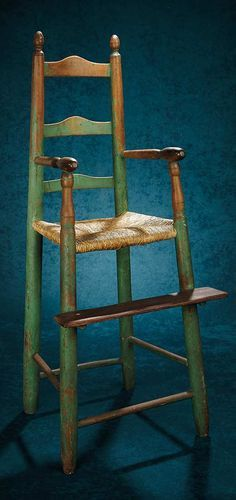 Forever Young - Marquis Antique Doll Auction: 315 American Wooden High Chair with Original Milk Paint Finish Wooden High Chairs, Old Chairs, Antique Chairs, Painted Chairs, Ikea Chairs, Desk Chairs, Primitive Furniture, Country Furniture, Funky Furniture