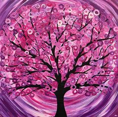 abstract paintings of flowers | Art: 'Raspberry Ripple' Abstract Tree Painting by Artist Louise Mead