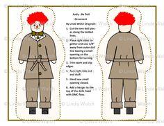 Andy - Be Cut and Sew Doll Ornaments - Linda Walsh Originals - Custom Fabric Designs By Linda Walsh