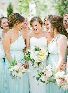 light blue bridesmaid dresses | Mandy Busby