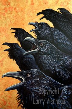 Inquisition raven painting acrylic painting crow by RAVENSTAMPS