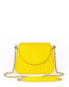 bac8b28cce93 The Genuine Ostrich Crossbody Bag - Yellow - Style 2018 Benny Yellow  Fashion