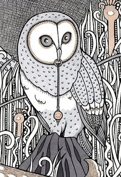 line drawings of owls | Follow progress on my Blog and read about the stories behind each ...