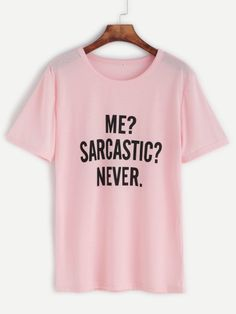 Camiseta con estampado de letra - rosa-Spanish SheIn(Sheinside) Sitio Móvil