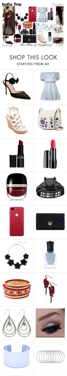 """India Trip-Scorpio"" by blueofsymphony ❤ liked on Polyvore featuring Manolo Blahnik, LoveShackFancy, GUESS, French Connection, Forever 21, Lancôme, Marc Jacobs, New York & Company, Deborah Lippmann and 1928"