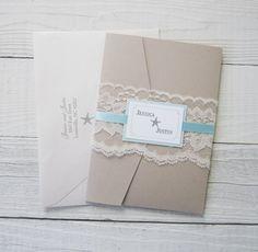 Beach Wedding Invitation  Starfish Ocean by RiverCityStudio, $8.00