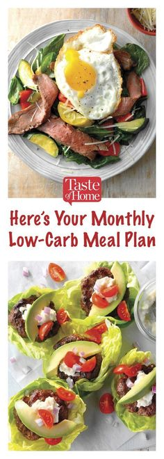 Diet Meal Plans Low-Carb Meal Plan - Trying to cut down on carbs? This low-carb meal plan serves up an amazing main and side dish that come in at of carbs or less. Low Fat Diet Plan, Diet Meal Plans To Lose Weight, Healthy Recipes For Weight Loss, Low Carb Recipes, Diet Recipes, Healthy Weight, No Carb Healthy Meals, Weight Gain, Zero Carb Meals