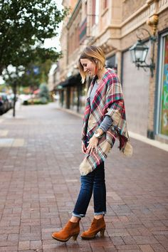 Plaid blanket scarf, gray tee, dark denim and ankle boots Material Girls just got this Scarf in!!!