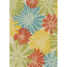 Nourison Home & Garden Daisies Ivory 10 ft. x 13 ft. Indoor / Outdoor Area Rug-112569 at The Home Depot