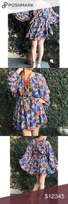 ✨NEW Parachute sleeve dress Light weight. 100% viscose fully lined. Beautiful print & color. Let me know if you have any questions! Please 🚫NO TRADES OR PAYPAL🚫 Price is firm. I will be declining all offers. Dresses Mini