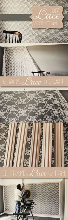 This is pretty. Maybe not a whole wall, but filling a frame with lace. Especially since the quilt I'm making has lace in it....