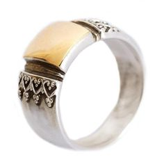 Sterling silver ring wedding ring silver and yellow от artisanlook, $170.00