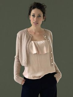 HUSHED classic cropped cardigan knitted in Rowan Mohair Haze from STILL by Kim Hargreaves - English Yarns