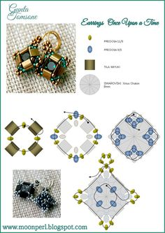 "FREE Pattern. Page 3/3. ""Once Upon A Time"" Earrings (and pendant) from MoonPerl."