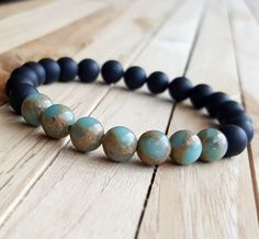 8mm Snake Skin Jasper Bracelet, Yoga Mala bracelet, matte black onyx bracelet, Handmade Beaded Stretch Bracelet, girlfriend gift B356 by OrientAppeal on Etsy