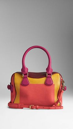 Bright peony/rosehip The Mini Bee in Hand-Painted Leather with Patent Trim - Image 2