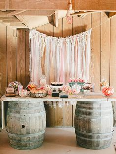 Create a colorful dessert backdrop to pair against a rustic barn wedding setting by designing a hanging display that is strung up with a lovable phrase. Prom Decor, Barn Wedding Decorations, Wedding Ideas, Wedding Inspiration, Barn Wedding Cakes, Rustic Wedding Desserts, Wedding Rustic, Prom Ideas, Decor Wedding