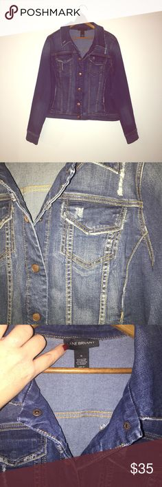 MUST HAVE Distressed Jean Jacket Practically brand new, I only wore/washed it once!  Super-cute shape and distressed detailing! Lane Bryant Jackets & Coats Jean Jackets
