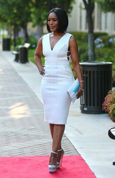 99999 Angela Bassett's American Horror Story Freakshow FYC Event Tamara Mellon White Cut Out Dress, Kzeniya White and Turquoise Clutch, and Alepel by Adriana Platform Heels