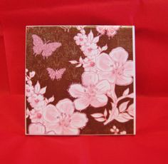 Brown tile coasters,  Pink butterfly,  Pink flowers