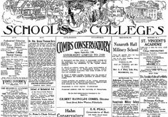 "Ads for schools and colleges, published in the Philadelphia Inquirer newspaper (Philadelphia, Pennsylvania), 11 September 1915. Read more on the GenealogyBank blog: ""Researching Kids with Vintage Newspaper Ads of 100 Years Ago."" http://blog.genealogybank.com/researching-kids-with-vintage-newspaper-ads-of-100-years-ago.html"