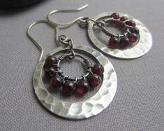 Hoop Earrings/ Amethyst Earrings/ Silver Hoop Earrings by mese9
