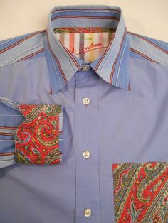 ROBERT GRAHAM Shirt Mens Long Sleeve Size S Blue #RobertGraham #ButtonFront