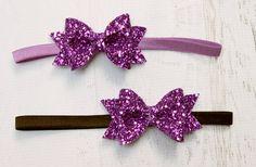 purple glitter bow  radient orchard headband  by HerJoyfulStudio