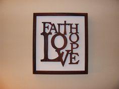 FAITH, HOPE, LOVE, HOME DECOR, ROSEWOOD WALL ART