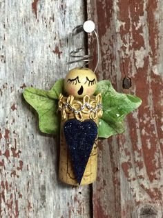 Angel ornament made from a wine cork