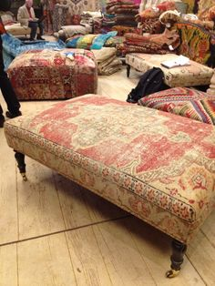 Rug covered ottomans