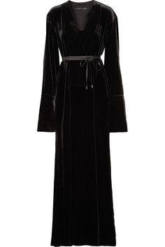 c033396ae16 Michael Lo Sordo - Wrap-effect Velvet Maxi Dress - Black Top Designer  Brands