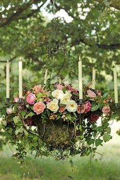 Hanging flower chandelier arrangement