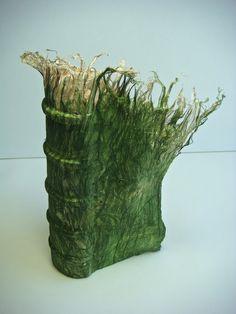 green - book art - Kozo fibers and hemp - Melissa Jay Craig Quentin Blake, Paper Book, Paper Art, Buch Design, Book Sculpture, Beautiful Book Covers, Book Projects, Handmade Books, Inspirational Books