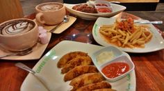 potato wedges, bbq chicken wings, beef mucho frenchfries, hot chocolate