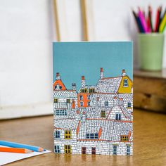 Over the Rooftops blank greetings card designed by Jessica Hogarth. Illustrative stationery showcasing drawings of coastal buildings Diy Postcard, Card Sentiments, Surface Pattern Design, Blank Cards, Decoration, Zentangle, Birthday Cards, Rooftops, Stationery