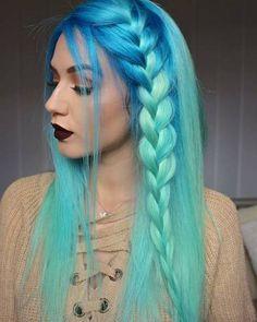 Iroiro 230 Aqua Pastel Vegan Cruelty-Free Semi-Permanent Hair Color - Hairstyles For All Hair Dye Colors, Ombre Hair Color, Beautiful Hair Color, Cool Hair Color, Blue Mermaid Hair, Brown Ombre Hair, Blue Ombre, Turquoise Hair Ombre, Semi Permanente