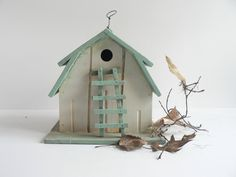 V I N T A G E Shabby Turquoise Wood Bird House by thisOtherthing on etsy $24.99