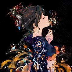 e-shuushuu kawaii and moe anime image board Anime Kimono, Kimono Animé, Art Anime Fille, Anime Art Girl, Manga Art, Anime Manga, Fantasy Kunst, Fantasy Art, Japan Painting