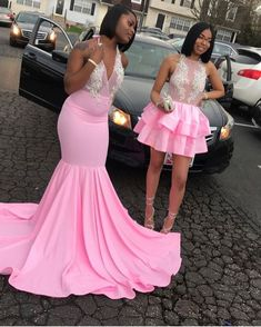 Looking for Prom Dresses in Stretch Satin, Mermaid style, and Gorgeous work? Babyonlinewholesale has all covered on this elegant Pink V-neck Halter Sleeveless Appliques Long Mermaid Prom Dresses. Black Girl Prom Dresses, Cute Prom Dresses, Prom Outfits, V Neck Prom Dresses, Sweet 16 Dresses, Mermaid Prom Dresses, Homecoming Dresses, Evening Dresses, Girls Dresses