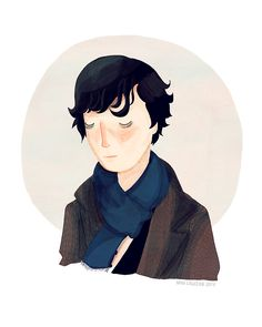 """This is an Nan Lawson Illustration! I love her work so much...Yes its """"The Batch"""" as Sherlock!"""