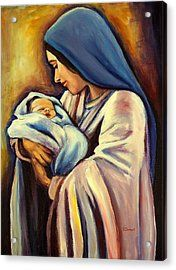 'Madonna and Child' Acrylic on Canvas Painting /© Sheila Diemert/Fine Art America Catholic Art, Religious Art, Virgin Mary Painting, Virgin Mary Art, Images Of Mary, Jesus Painting, Blessed Mother Mary, Jesus Art, Mary And Jesus